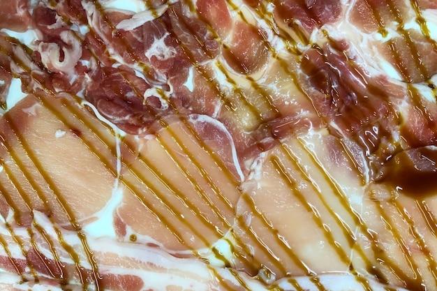 Sliced pork collar close up