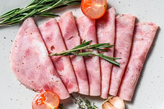 Sliced pork ham. fresh prosciutto
