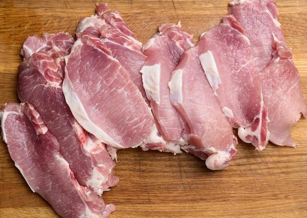 Нарезанная свиная вырезка на деревянной разделочной доске