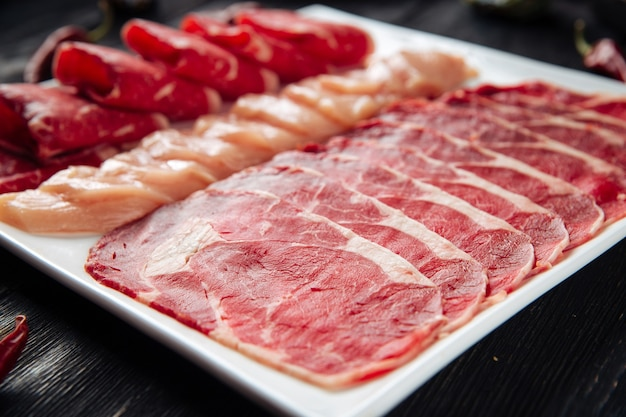 Sliced raw beef meat on the plate