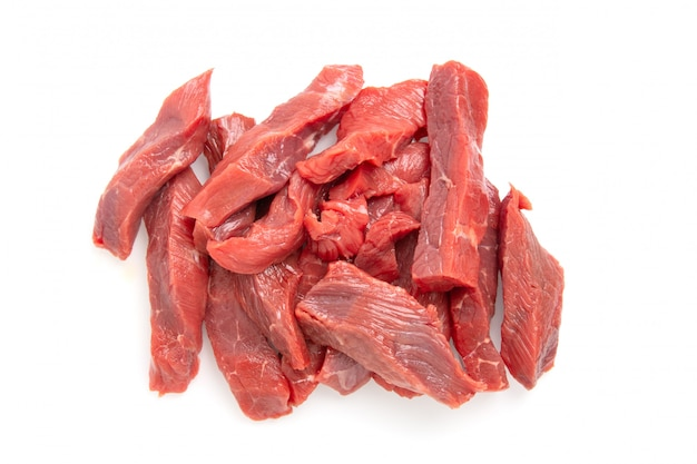 Sliced raw beef meat