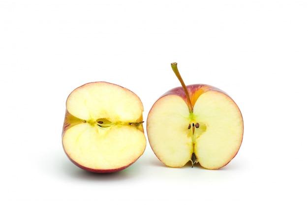 Sliced red apple on white background