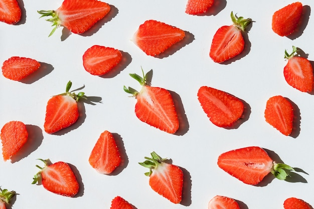 Sliced red strawberry background. summer concept.