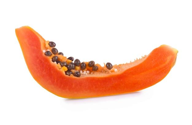 Sliced of ripe papaya isolated on white