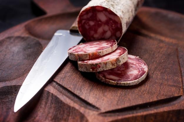 Sliced salami close up