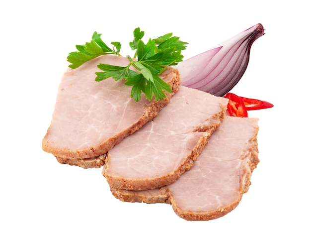 Sliced semi-smoked sausage isolated