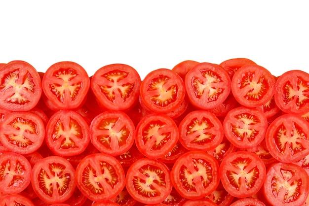 Нарезанный томатный фон. вид сверху.