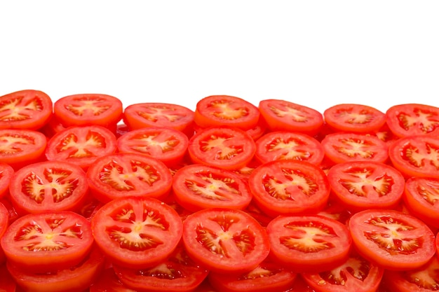 Sliced tomato background. top view.