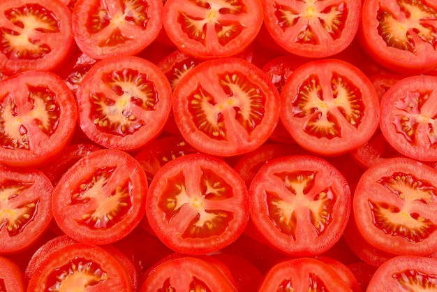 슬라이스 토마토 배경입니다. 평면도.