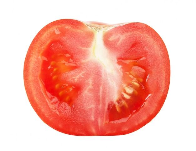 白い背景で隔離されたスライストマト