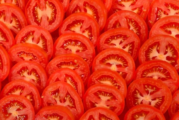Sliced tomato. top view.