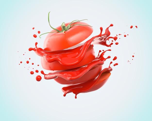 주스의 튀는 슬라이스 토마토