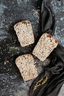 Sliced vegan bread, gluten-free and without animal products. bread, gluten-free and without animal products.
