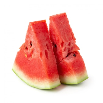 Sliced of watermelon isolated over white background.