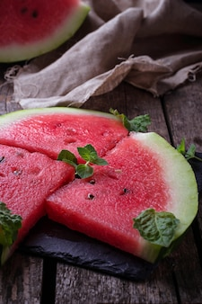 Sliced watermelon and mint. selective focus