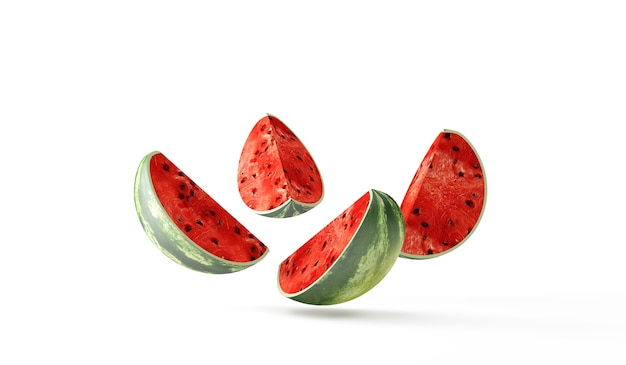 Sliced watermelon pieces falling on white background