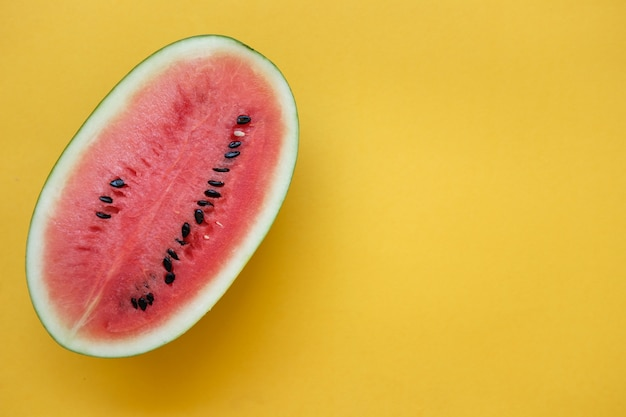 Sliced watermelon on yellow background