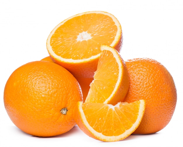 Sliced and whole oranges