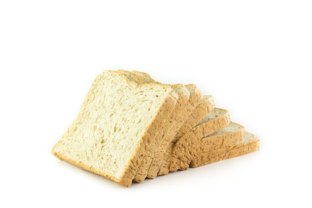 Sliced whole wheat bread isolated
