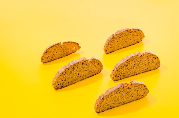 Slices of bread with color background