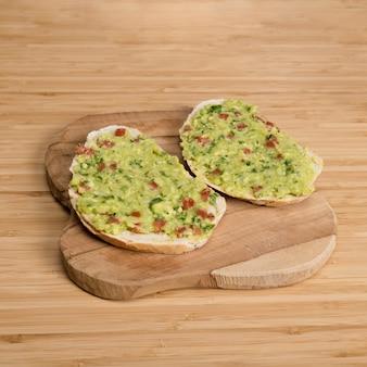 Slices of bread with guacamole