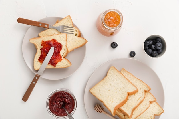 Slices of bread with homemade delicious jam