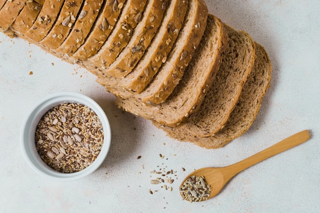 Slices of bread with seeds in bowl
