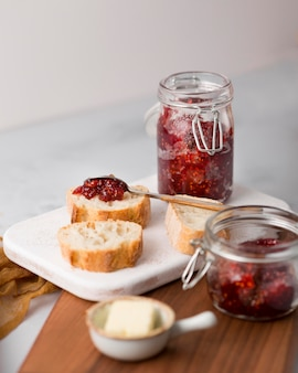 Slices of bread with wild berry jam