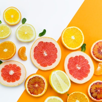 Slices of citrus fruit top view