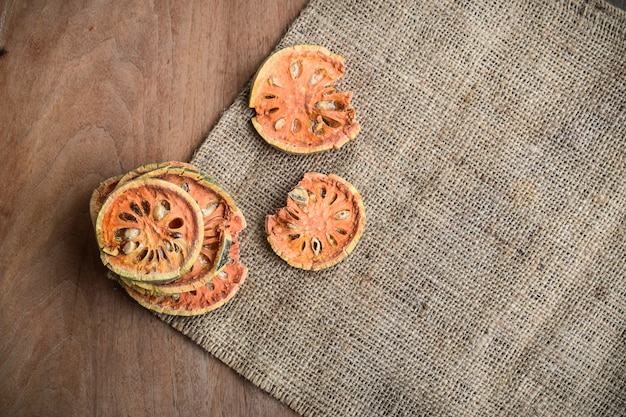 Slices of dry bael fruit
