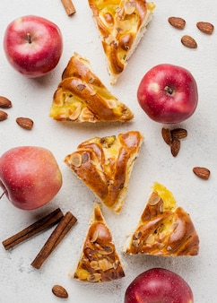 Slices of fresh apple pie and nutritious fruit