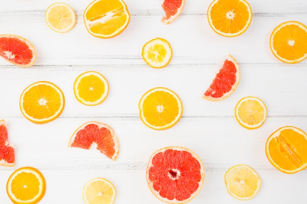 Slices of fresh citruses