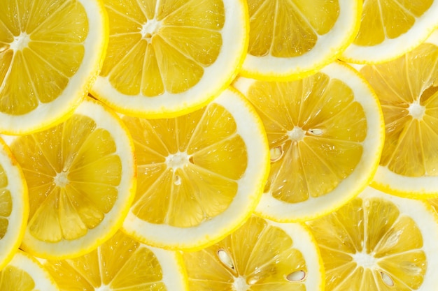 A slices of fresh yellow lemon