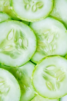 Slices of freshly cut cucumber