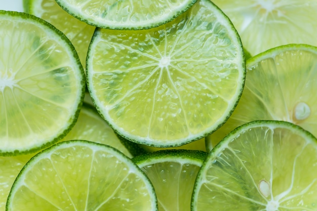 Slices of freshly cut lime