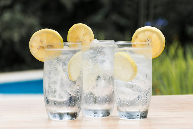 Slices of fruits on glasses with drink and ice