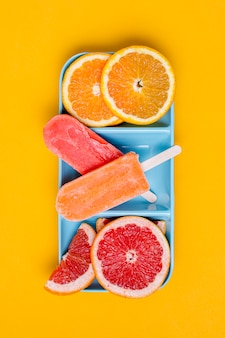 Slices of grapefruit and orange with ice cream flat lay