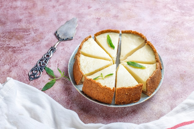 Slices of homemade new york cheesecake,top view