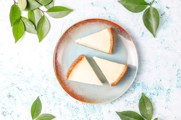 Slices of homemade new york cheesecake