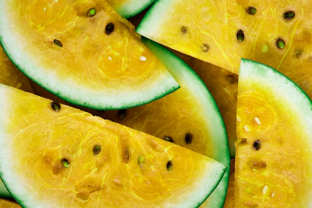 Slices of juicy yellow watermelon