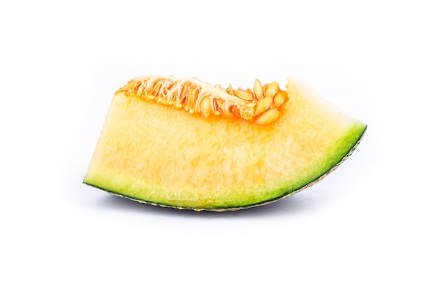 Slices of melon isolated on white background
