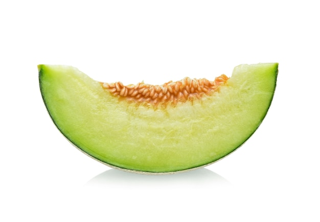 Slices of melon isolated on white.