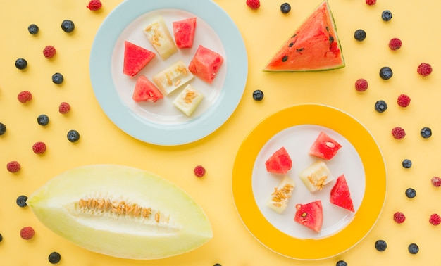 Slices of muskmelon and watermelon on two plated decorated with blueberries and raspberries against yellow background