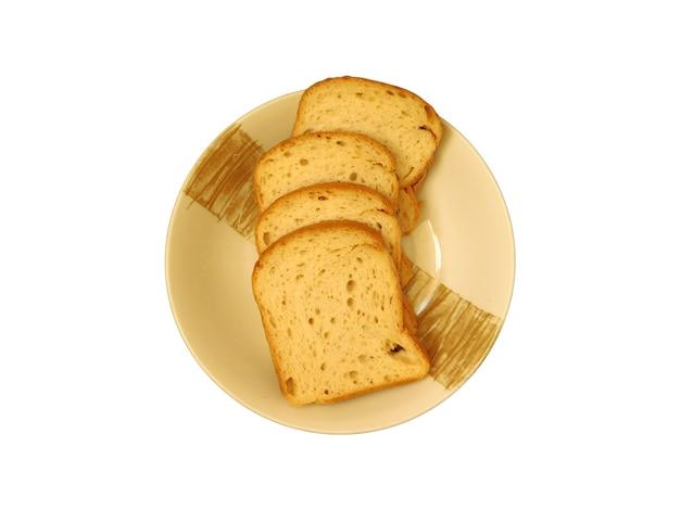 皿の上のパンのスライス