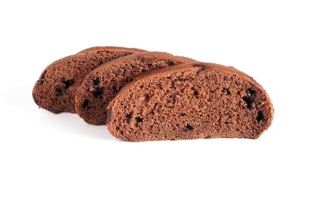 白地に甘いチョコレートと茶色のパンのスライス。