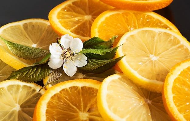 Ломтики апельсина и лимона, изолированные на черном.