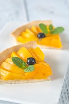 Кусочки пирога с персиками и черникой