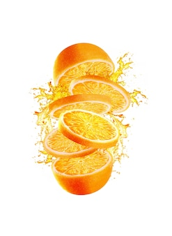 Slices of orange and juice