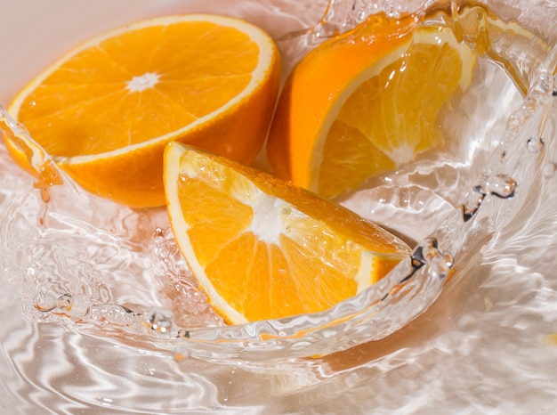Slices of an orange in water