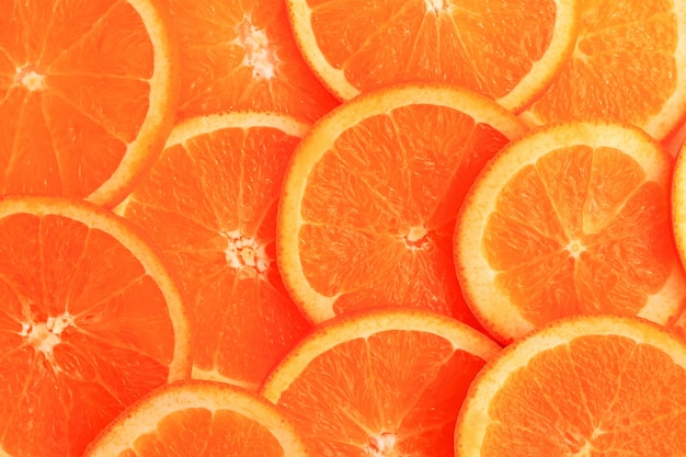Slices of orange on white background. flat lay, top view.